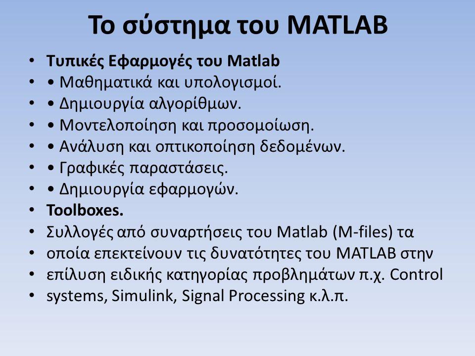 Το σύστημα του MATLAB Τυπικές Εφαρμογές του Matlab