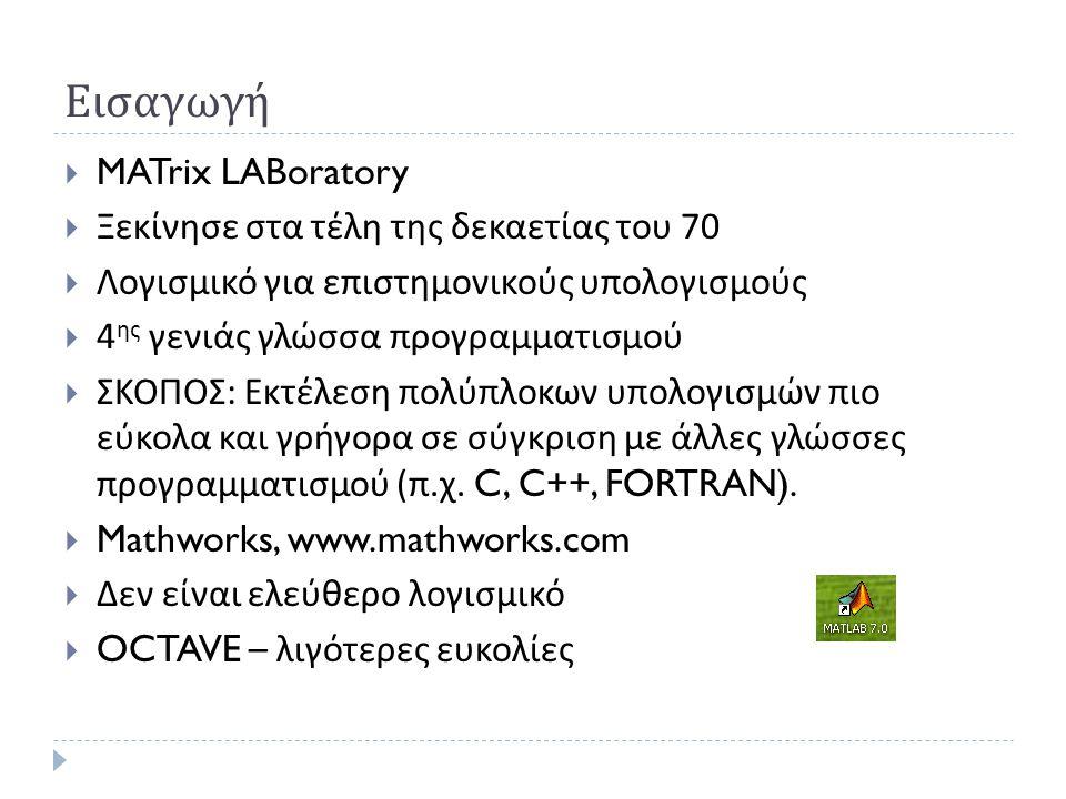Εισαγωγή MATrix LABoratory Ξεκίνησε στα τέλη της δεκαετίας του 70