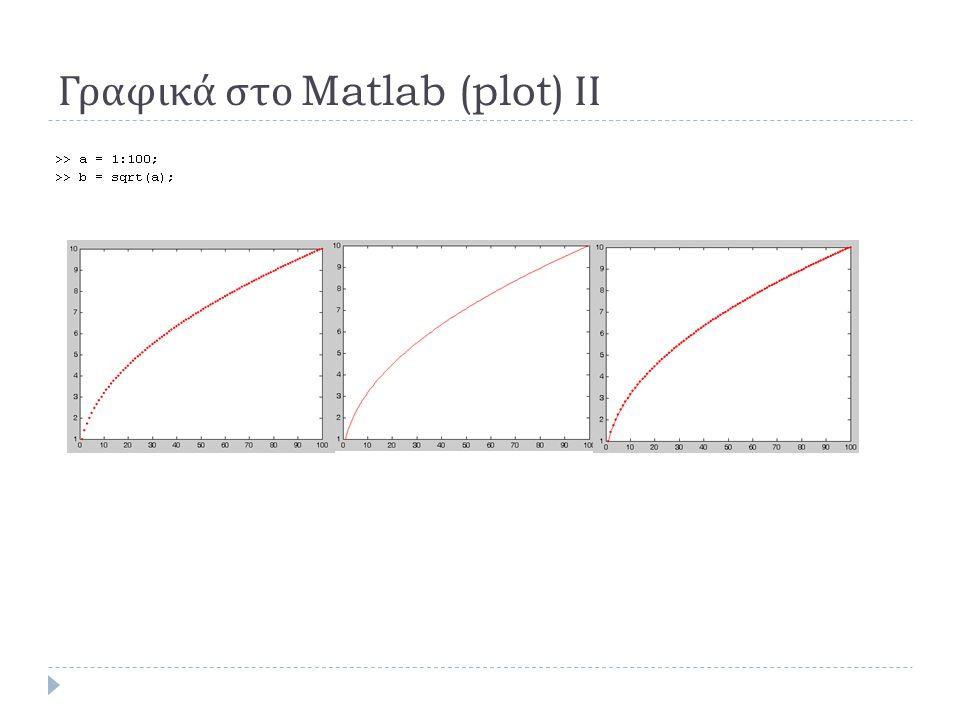 Γραφικά στο Matlab (plot) ΙΙ