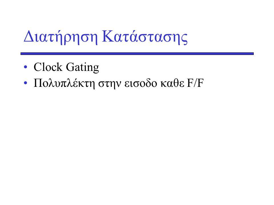 Διατήρηση Κατάστασης Clock Gating Πολυπλέκτη στην εισοδο καθε F/F
