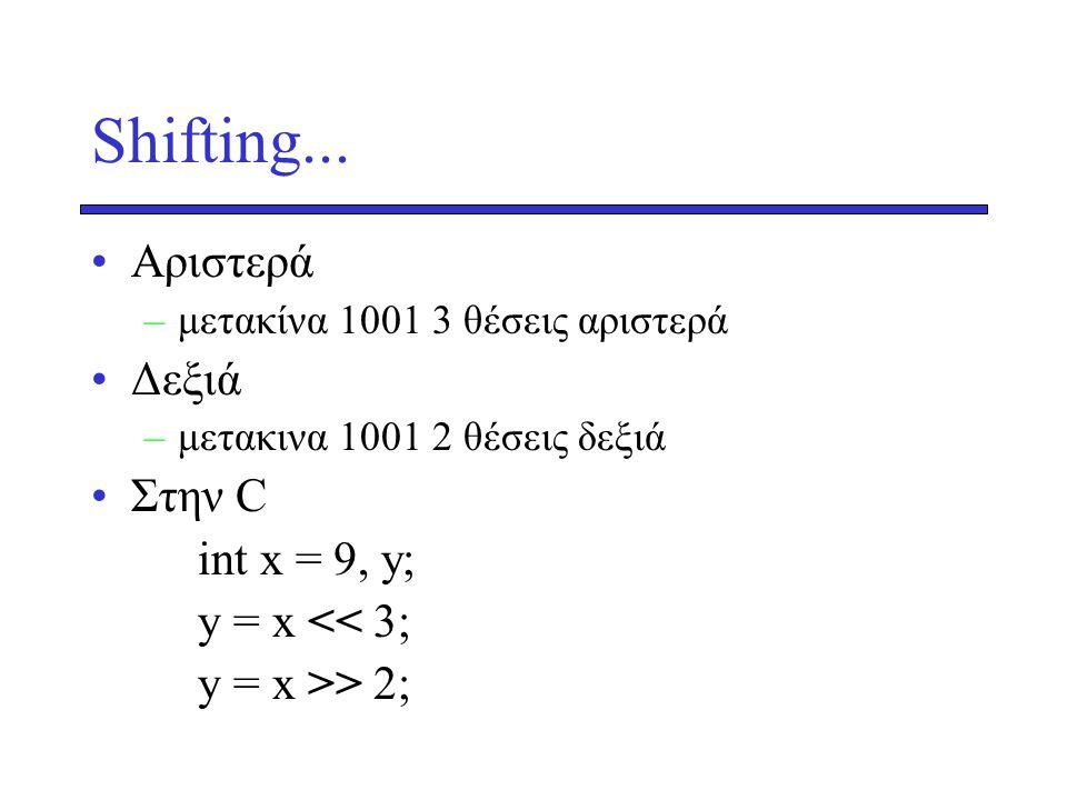 Shifting... Aριστερά Δεξιά Στην C int x = 9, y; y = x << 3;