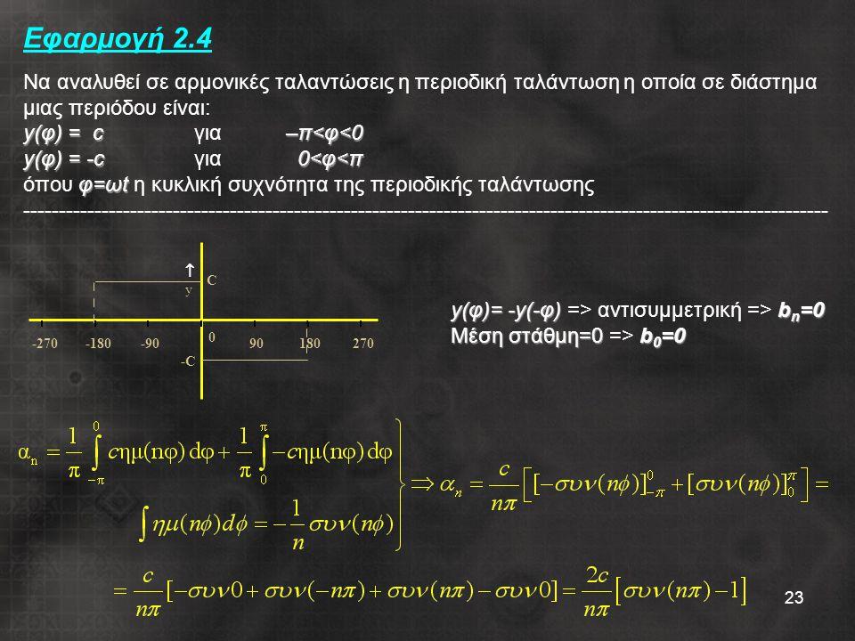 Εφαρμογή 2.4 Να αναλυθεί σε αρμονικές ταλαντώσεις η περιοδική ταλάντωση η οποία σε διάστημα μιας περιόδου είναι: y(φ) = c για –π<φ<0 y(φ) = -c για 0<φ<π όπου φ=ωt η κυκλική συχνότητα της περιοδικής ταλάντωσης -----------------------------------------------------------------------------------------------------------------