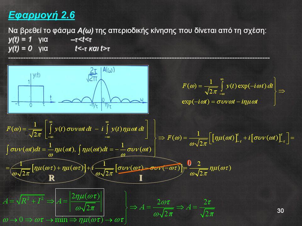 Εφαρμογή 2.6 Να βρεθεί το φάσμα Α(ω) της απεριοδικής κίνησης που δίνεται από τη σχέση: y(t) = 1 για –τ<t<τ y(t) = 0 για t<-τ και t>τ --------------------------------------------------------------------------------------------------------
