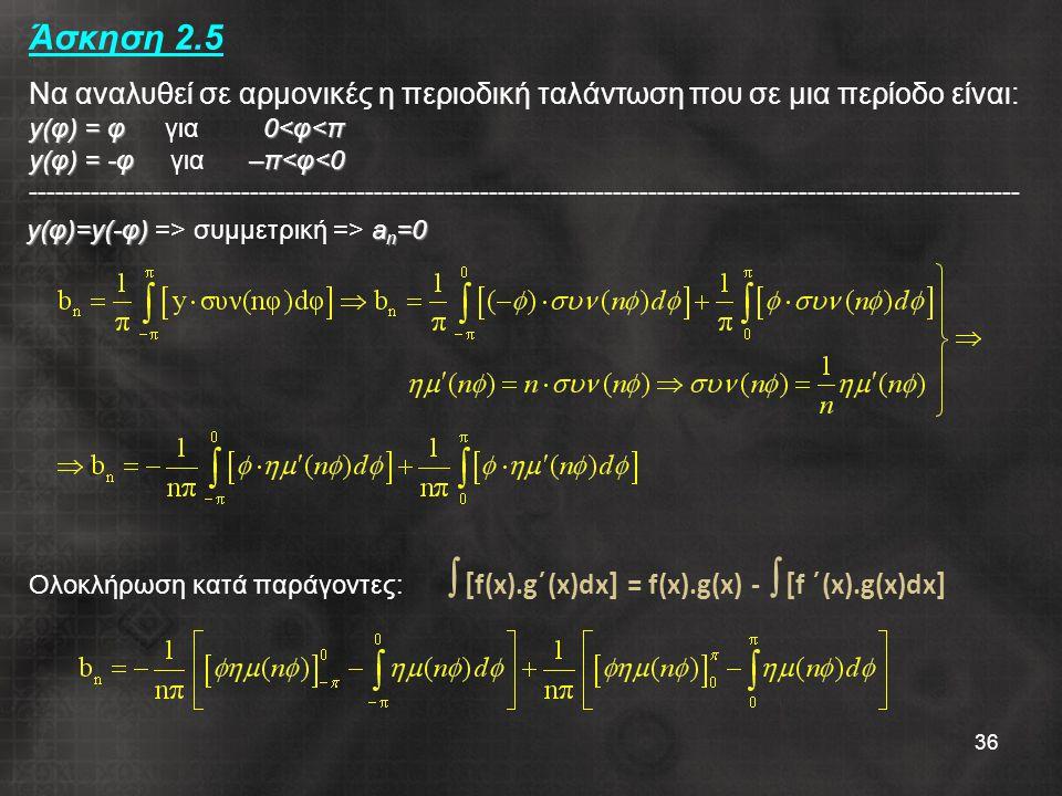 Άσκηση 2.5 Να αναλυθεί σε αρμονικές η περιοδική ταλάντωση που σε μια περίοδο είναι: y(φ) = φ για 0<φ<π y(φ) = -φ για –π<φ<0 ----------------------------------------------------------------------------------------------------------------