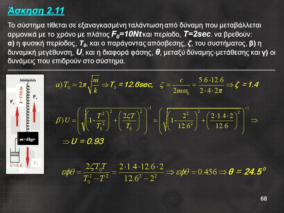 Άσκηση 2.11 Το σύστημα τίθεται σε εξαναγκασμένη ταλάντωση από δύναμη που μεταβάλλεται αρμονικά με το χρόνο με πλάτος F0=10Nt και περίοδο, T=2sec. να βρεθούν: α) η φυσική περίοδος, Τ0, και ο παράγοντας απόσβεσης, ζ, του συστήματος, β) η δυναμική μεγέθυνση, U, και η διαφορά φάσης, θ, μεταξύ δύναμης-μετάθεσης και γ) οι δυνάμεις που επιδρούν στο σύστημα. -----------------------------------------------------------------------------------------------------------------