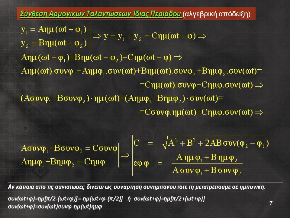 Σύνθεση Αρμονικών Ταλαντώσεων Ίδιας Περιόδου (αλγεβρική απόδειξη)