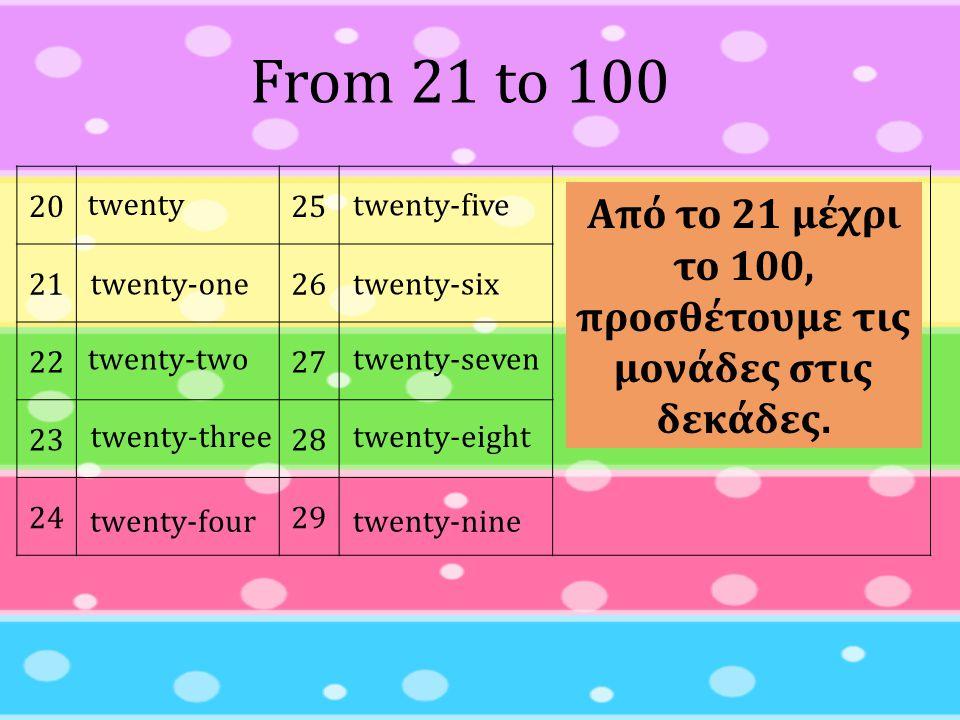 Από το 21 μέχρι το 100, προσθέτουμε τις μονάδες στις δεκάδες.