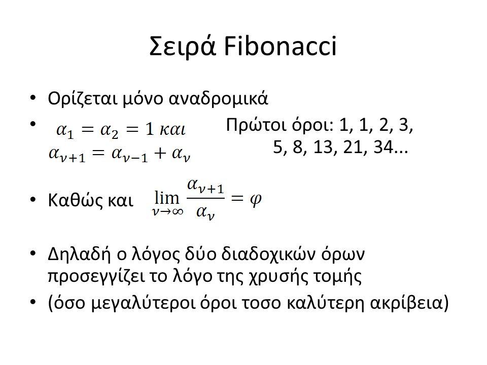Σειρά Fibonacci Ορίζεται μόνο αναδρομικά