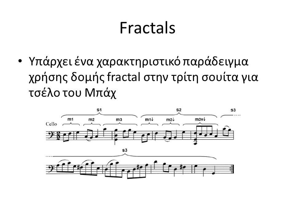 Fractals Υπάρχει ένα χαρακτηριστικό παράδειγμα χρήσης δομής fractal στην τρίτη σουίτα για τσέλο του Μπάχ.