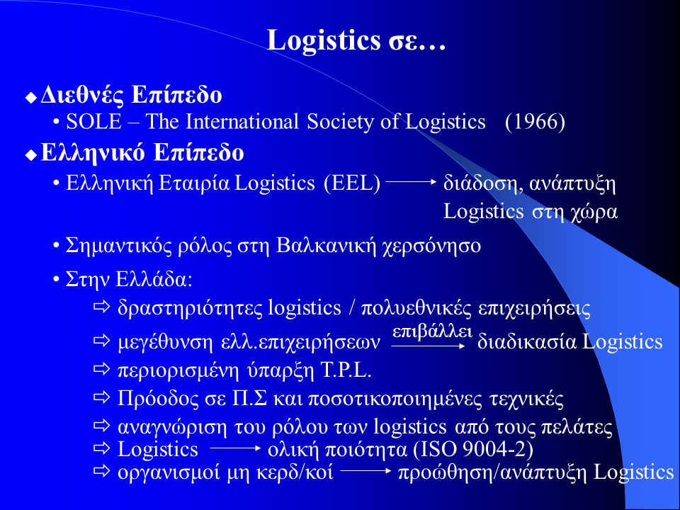 Logistics σε… • SOLE – The International Society of Logistics (1966)
