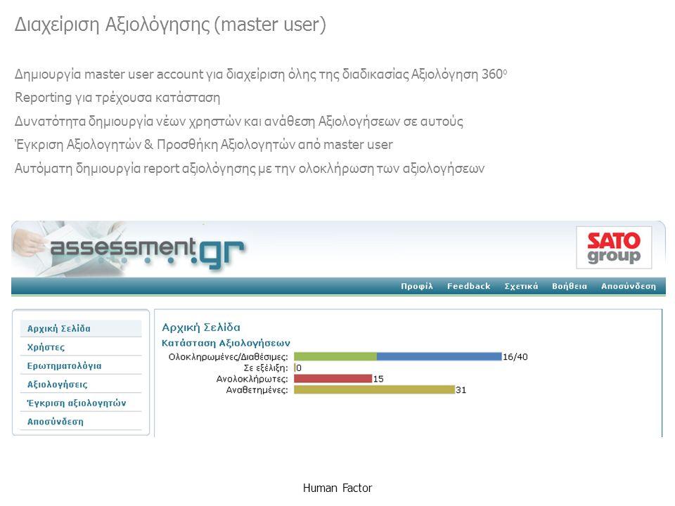 Διαχείριση Αξιολόγησης (master user)