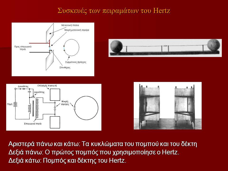 Συσκευές των πειραμάτων του Hertz