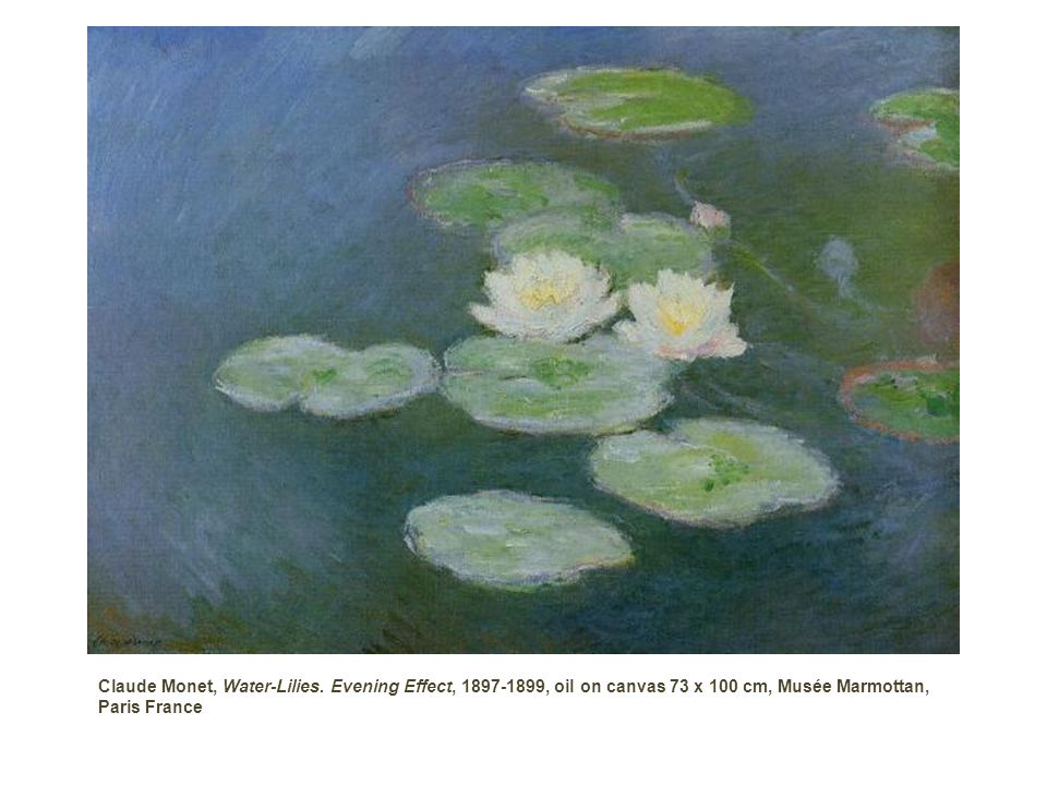 Water-Lilies, Evening Effect , Claude Monet 1897-1899, oil on canvas 73 x 100 cm, Musée Marmottan, Paris France Painting Description :This painting is one of the eight preliminary studies for the waterlilies decorations on wich Monet began working as early as 1897.