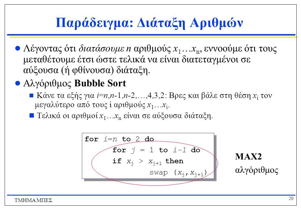 Παράδειγμα: Διάταξη Αριθμών