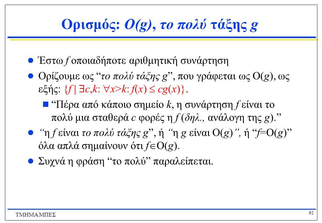 Ορισμός: O(g), το πολύ τάξης g