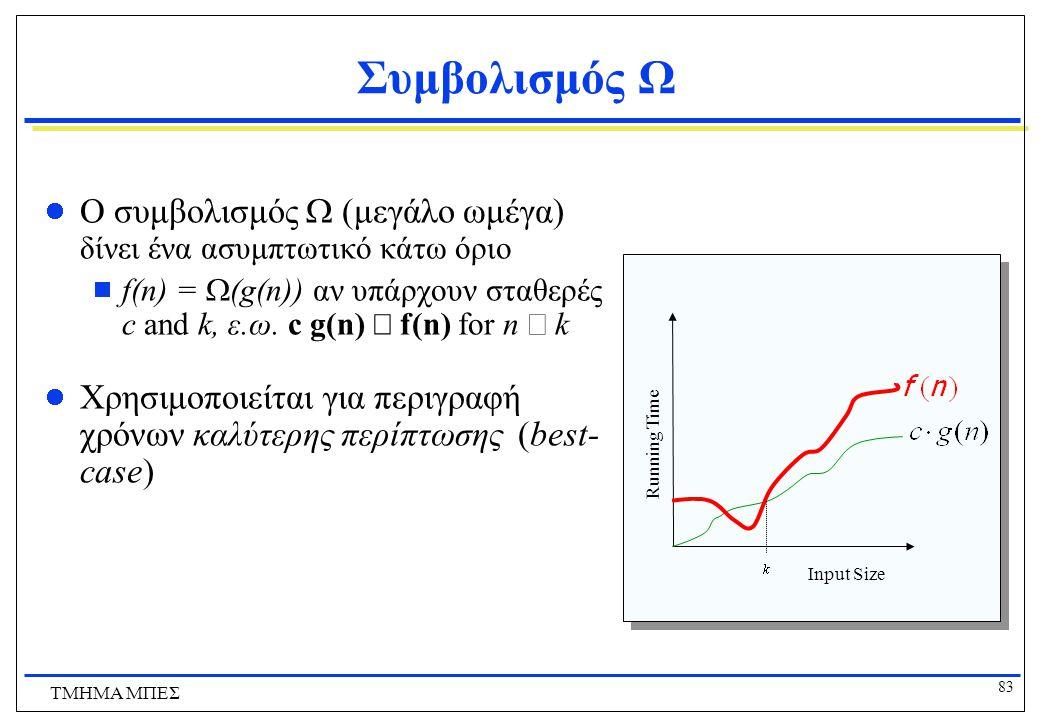 Συμβολισμός Ω Ο συμβολισμός W (μεγάλο ωμέγα) δίνει ένα ασυμπτωτικό κάτω όριο.
