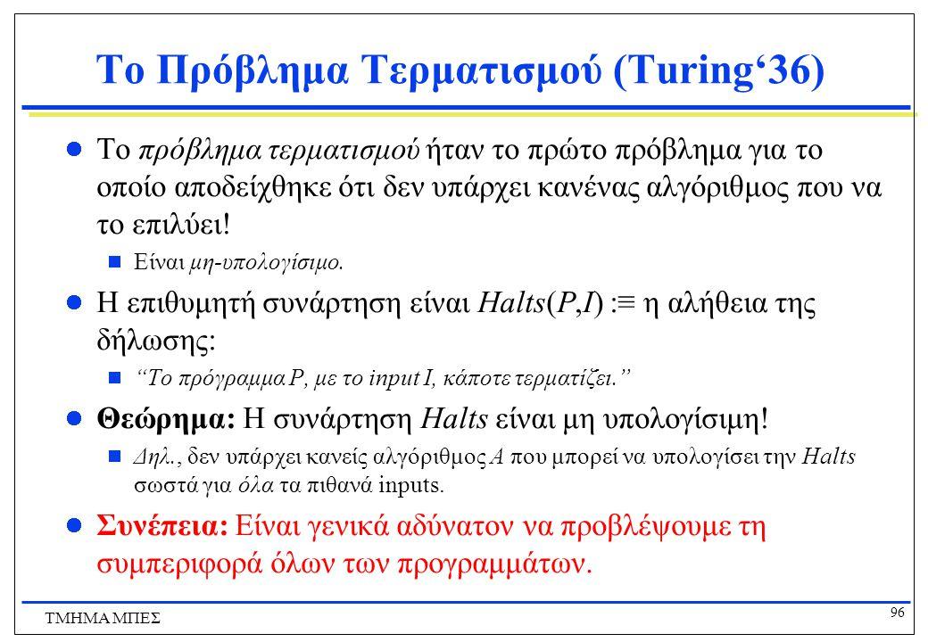 Το Πρόβλημα Τερματισμού (Turing'36)