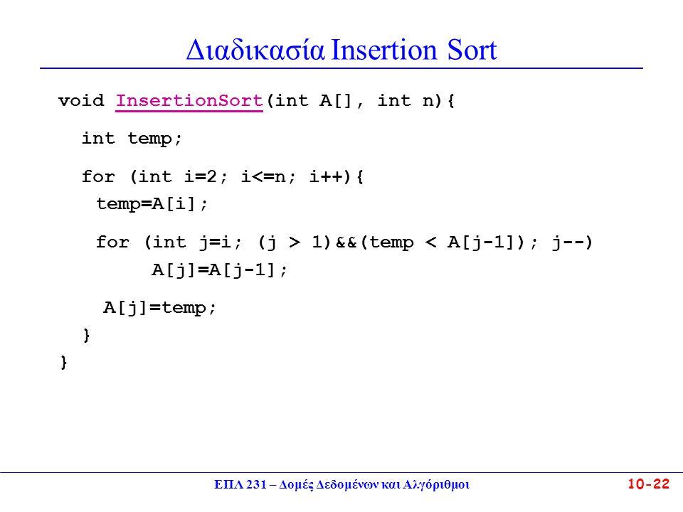 Διαδικασία Insertion Sort