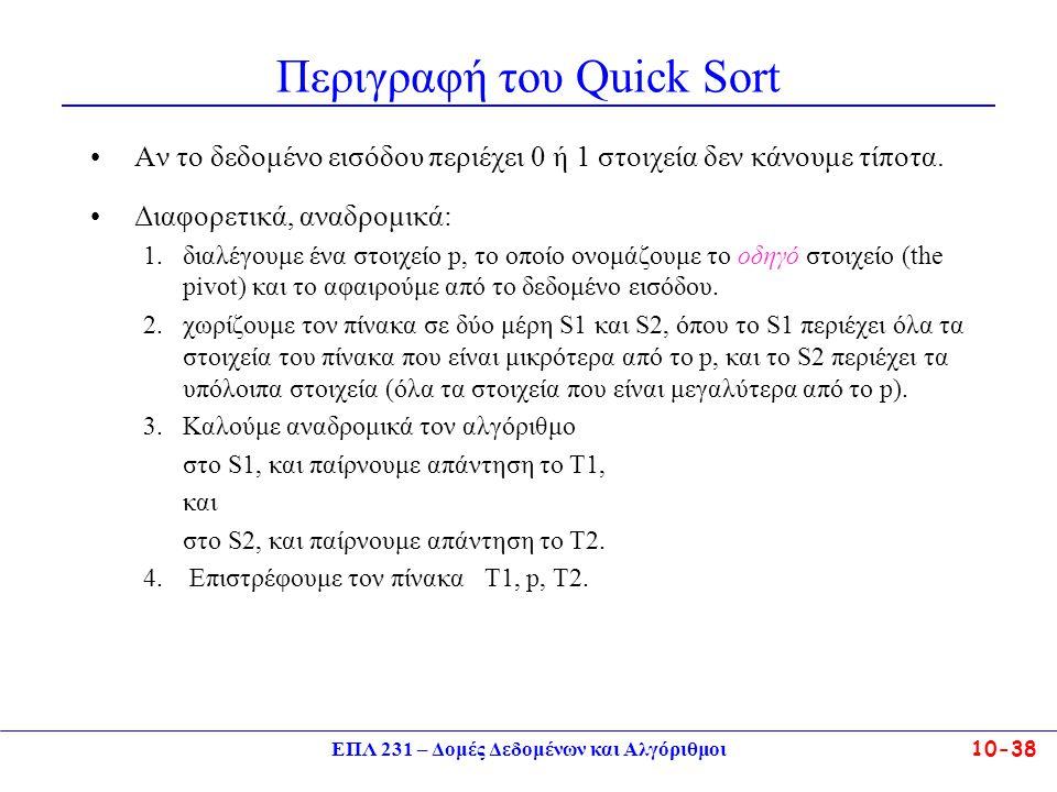 Περιγραφή του Quick Sort