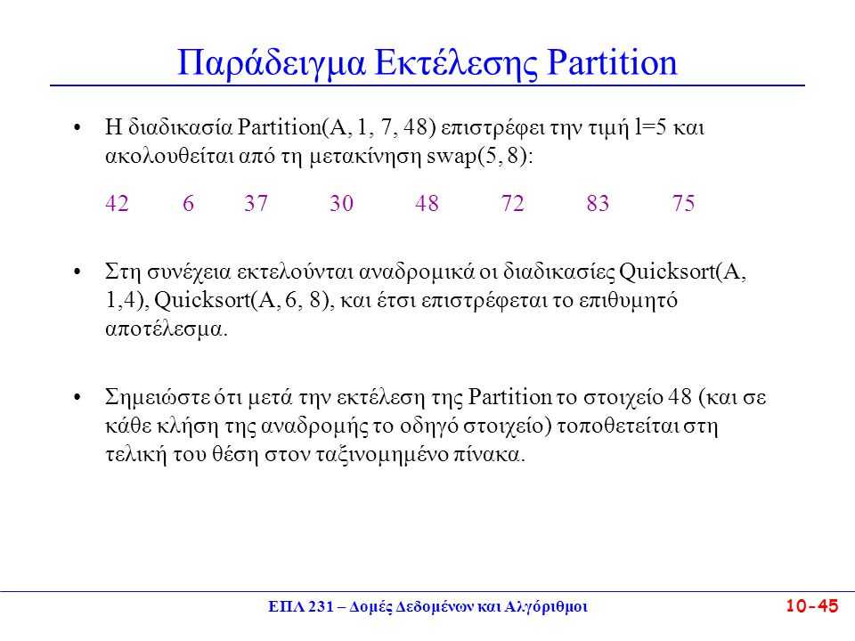 Παράδειγμα Εκτέλεσης Partition