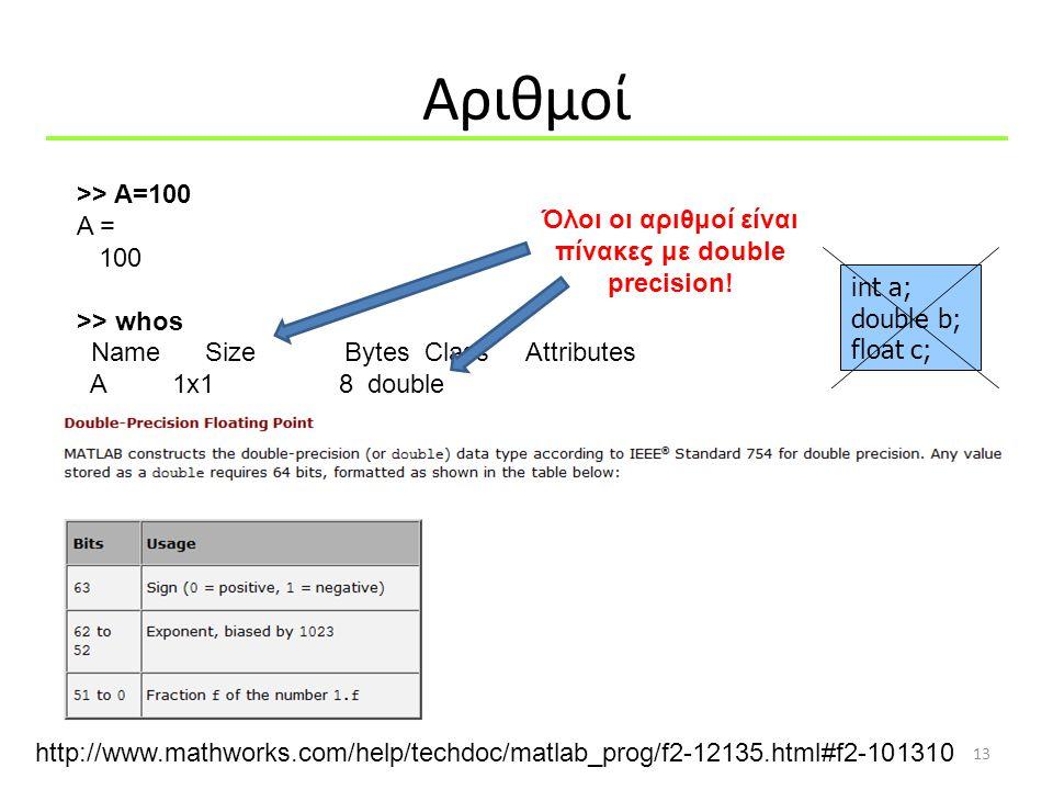 Όλοι οι αριθμοί είναι πίνακες με double precision!