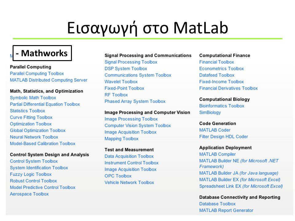 Εισαγωγή στo MatLab - Mathworks