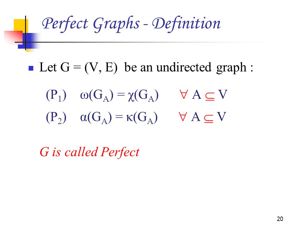 Perfect Graphs - Definition