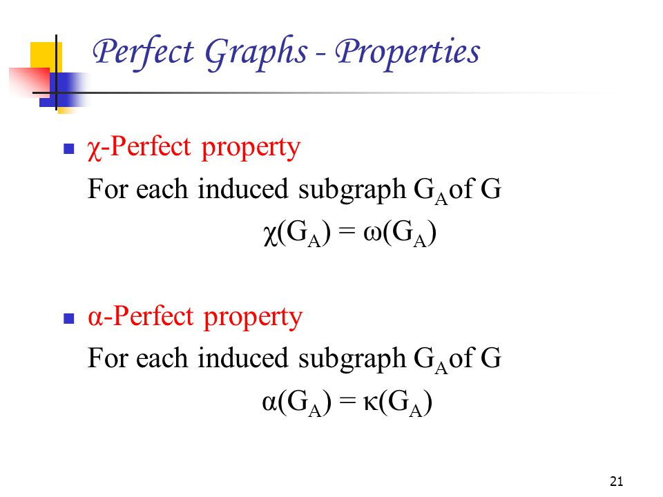 Perfect Graphs - Properties