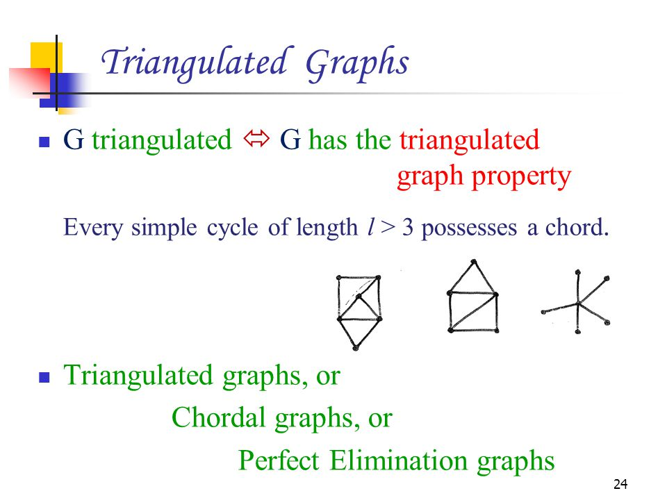 Triangulated Graphs G triangulated  G has the triangulated graph property.
