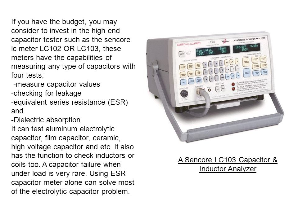 A Sencore LC103 Capacitor & Inductor Analyzer