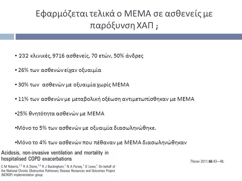 Εφαρμόζεται τελικά ο ΜΕΜΑ σε ασθενείς με παρόξυνση ΧΑΠ ;