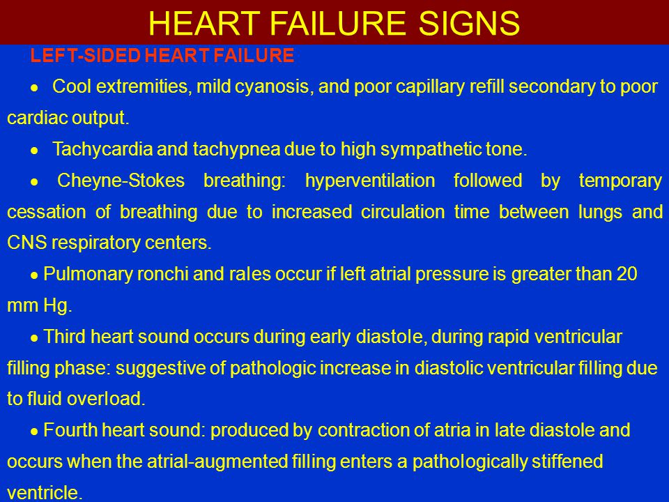 HEART FAILURE SIGNS LEFT-SIDED HEART FAILURE