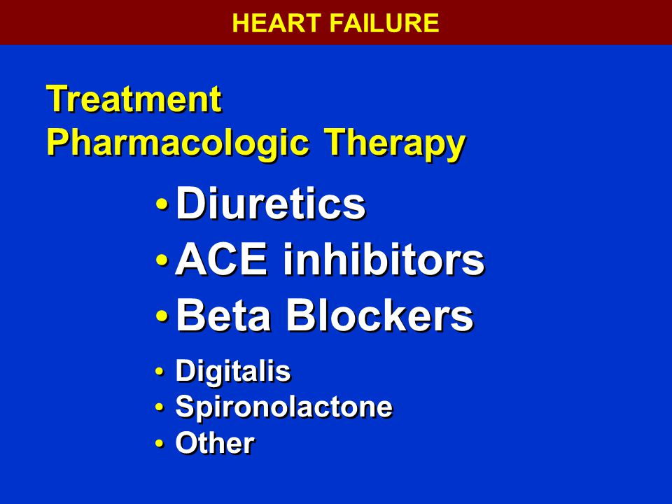 Diuretics ACE inhibitors Beta Blockers Treatment Pharmacologic Therapy