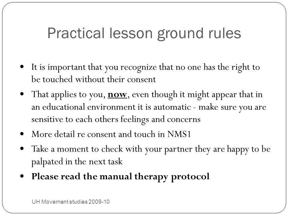 Practical lesson ground rules