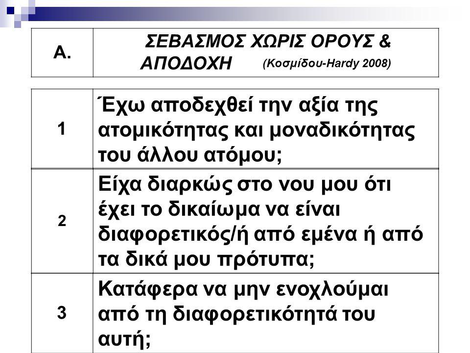 ΣΕΒΑΣΜΟΣ ΧΩΡΙΣ ΟΡΟΥΣ & ΑΠΟΔΟΧΗ (Κοσμίδου-Hardy 2008)
