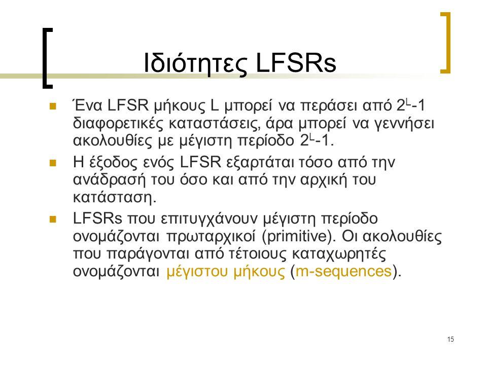 Ιδιότητες LFSRs Ένα LFSR μήκους L μπορεί να περάσει από 2L-1 διαφορετικές καταστάσεις, άρα μπορεί να γεννήσει ακολουθίες με μέγιστη περίοδο 2L-1.