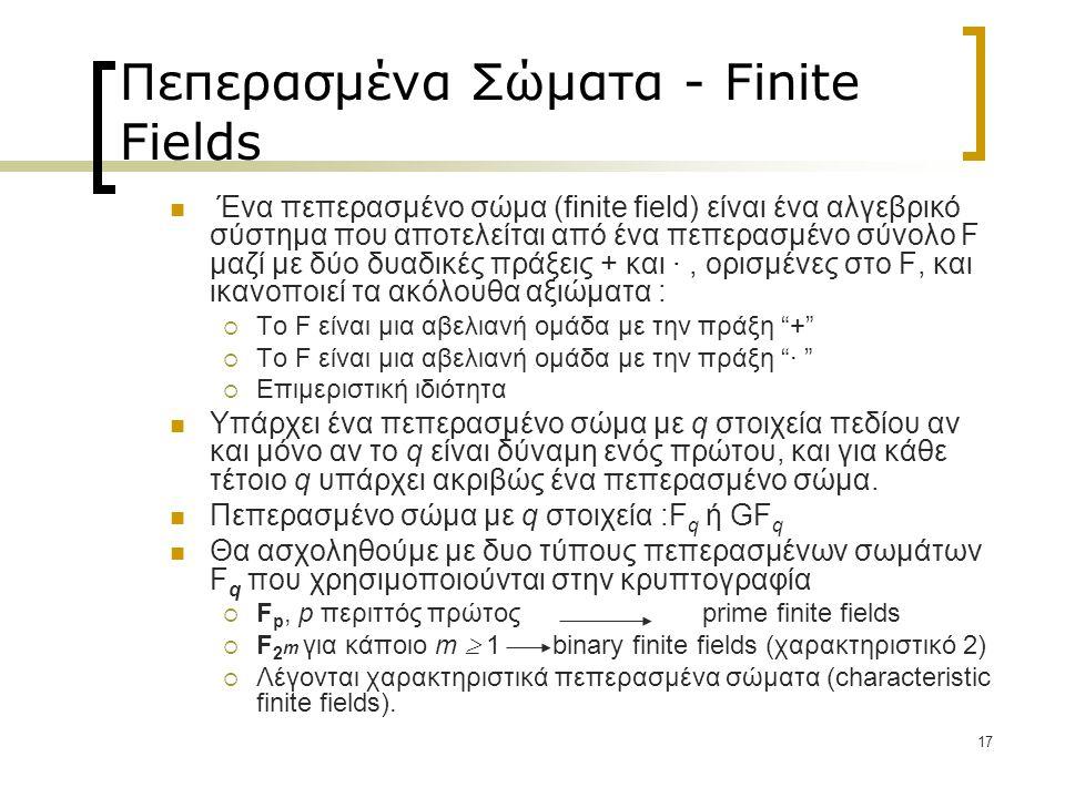 Πεπερασμένα Σώματα - Finite Fields