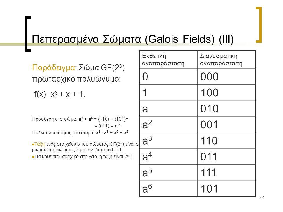 Πεπερασμένα Σώματα (Galois Fields) (IΙI)