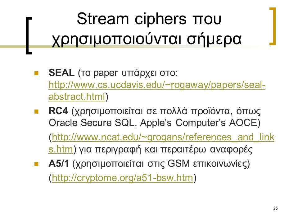 Stream ciphers που χρησιμοποιούνται σήμερα
