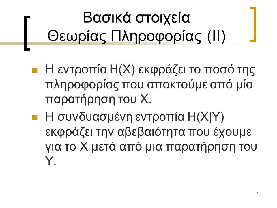 Βασικά στοιχεία Θεωρίας Πληροφορίας (II)