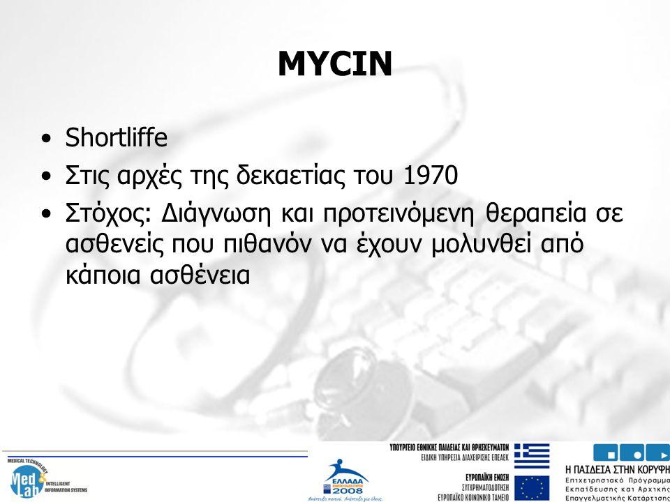 MYCIN Shortliffe Στις αρχές της δεκαετίας του 1970