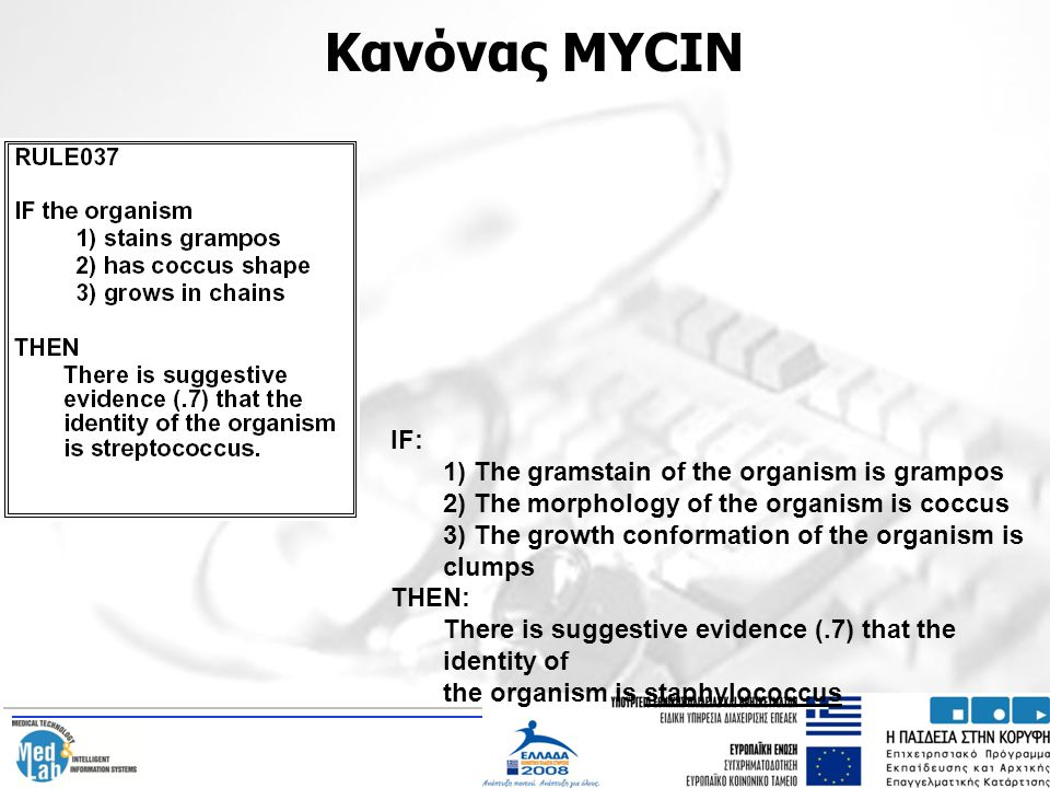 Κανόνας MYCIN IF: 1) The gramstain of the organism is grampos
