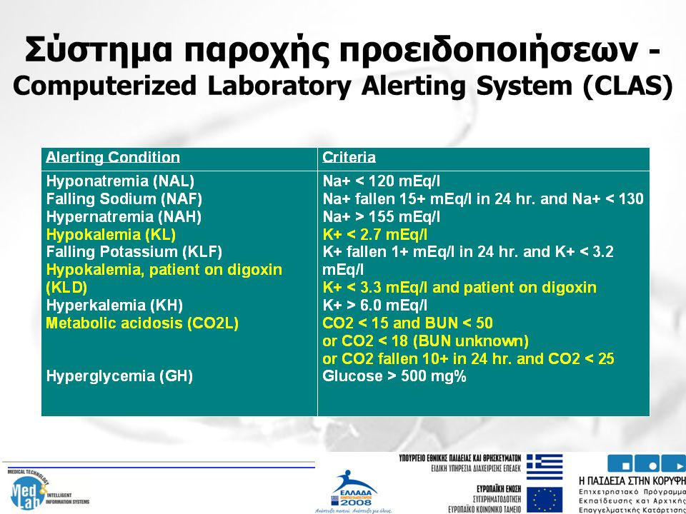 Σύστημα παροχής προειδοποιήσεων - Computerized Laboratory Alerting System (CLAS)