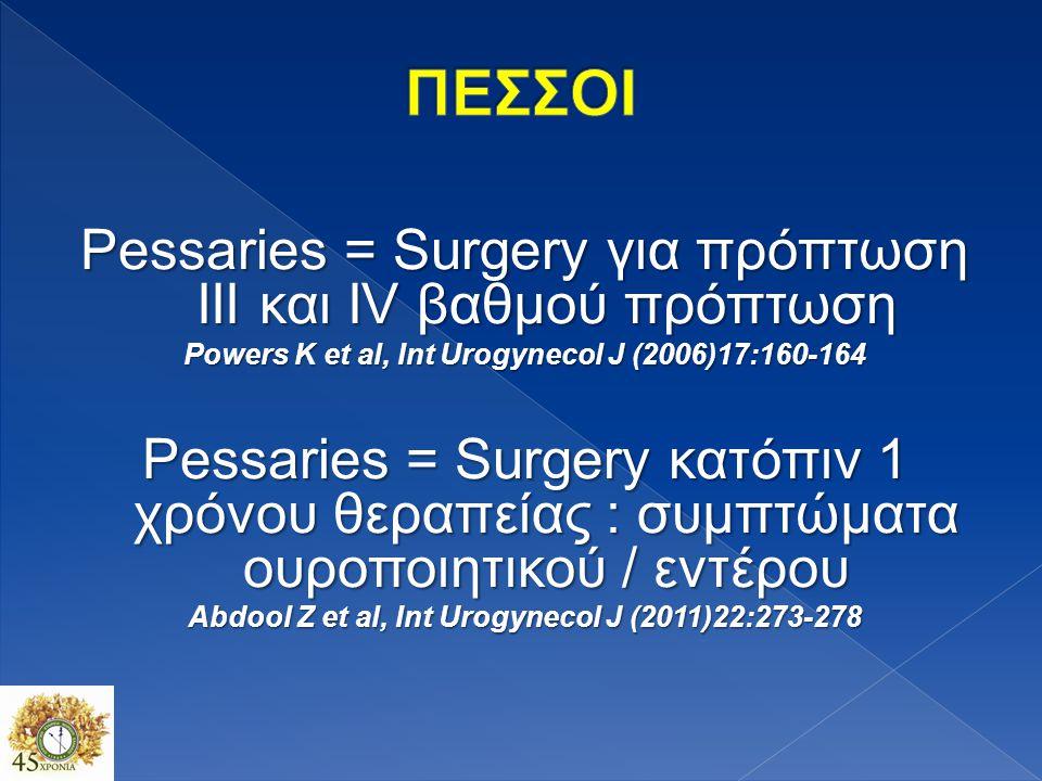 ΠΕΣΣΟΙ Pessaries = Surgery για πρόπτωση III και IV βαθμού πρόπτωση