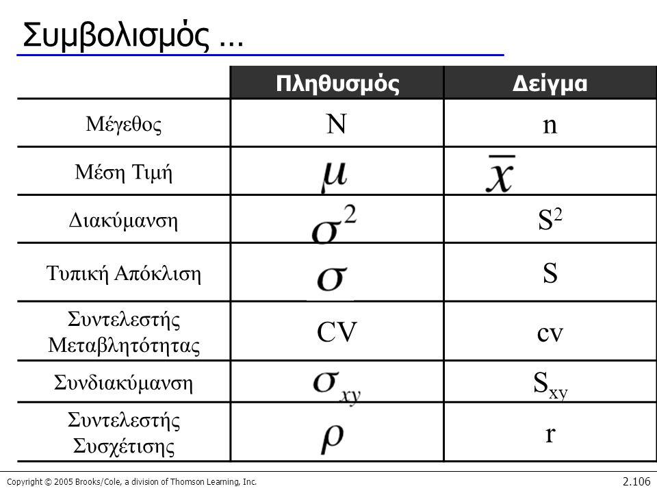Συμβολισμός … N n S2 S CV cv Sxy r Πληθυσμός Δείγμα Μέγεθος Μέση Τιμή