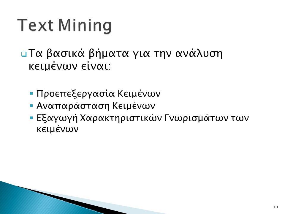 Text Mining Τα βασικά βήματα για την ανάλυση κειμένων είναι: