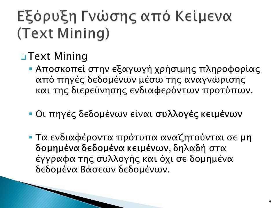 Εξόρυξη Γνώσης από Κείμενα (Text Mining)