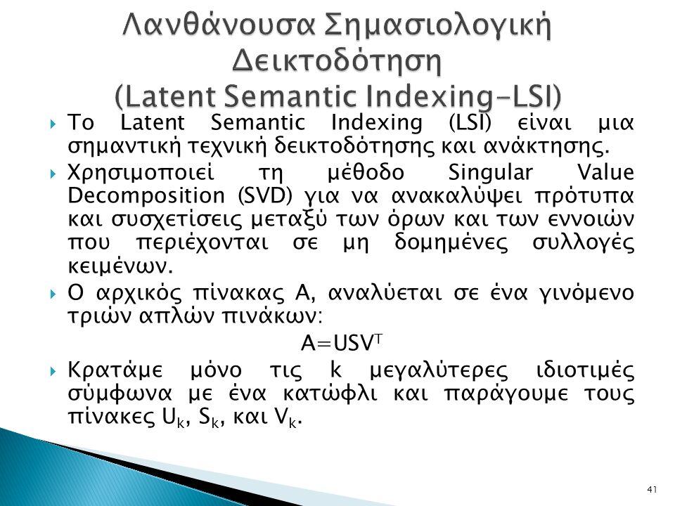 Λανθάνουσα Σημασιολογική Δεικτοδότηση (Latent Semantic Indexing-LSI)