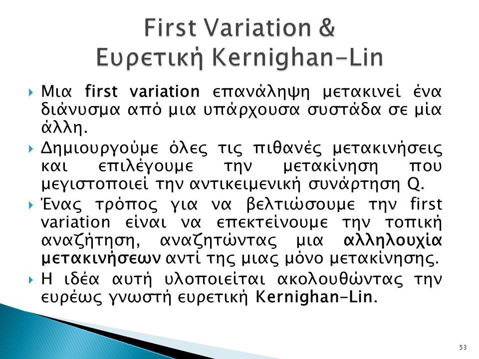 First Variation & Ευρετική Kernighan-Lin