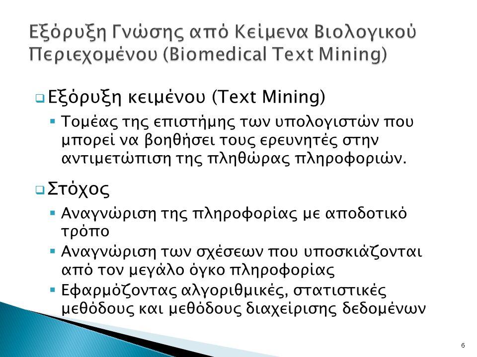Εξόρυξη Γνώσης από Κείμενα Βιολογικού Περιεχομένου (Biomedical Text Mining)